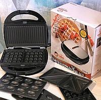 Сэндвичница 1200w 4в1 Grandhoff GT-780, со съемными формами, сендвичница, вафельница, тостер, орешница, гриль