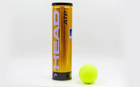 Мяч для большого тенниса HEAD (4шт) 570314 ATP METAL CAN (в вакуумной упаковке, салатовый), фото 2