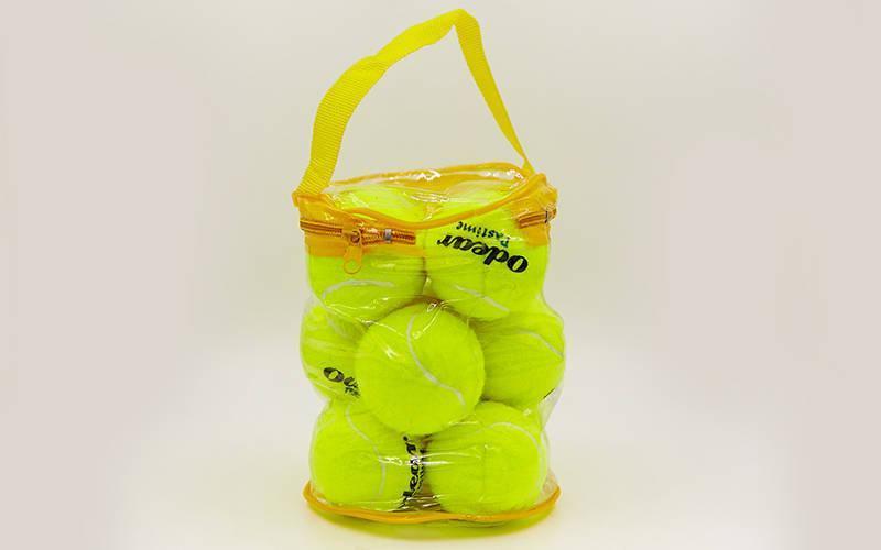 Мяч для большого тенниса (12шт) ODEAR 901-12 (PVC сумка, салатовый)