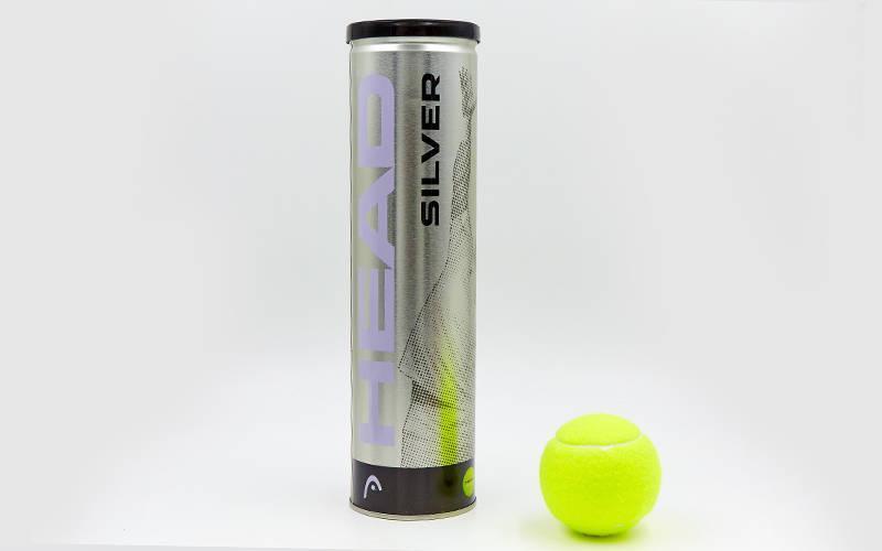 Мяч для большого тенниса HEAD (4шт) 571304 SILVER METAL CAN (в вакуумной упаковке, салатовый)