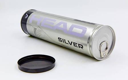 Мяч для большого тенниса HEAD (4шт) 571304 SILVER METAL CAN (в вакуумной упаковке, салатовый), фото 2