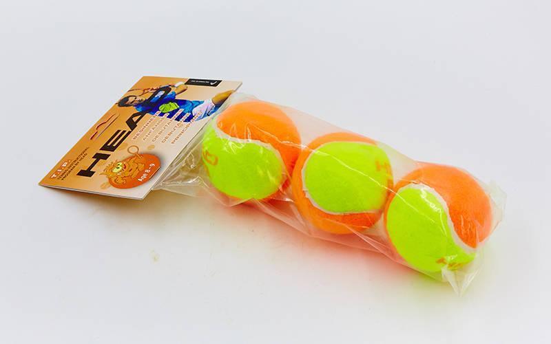 Мяч для большого тенниса HEAD (3шт) 578223 TIP-OR (для детей 8-9 лет, в пакете, оранжевый-салатовый)