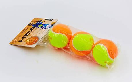 Мяч для большого тенниса HEAD (3шт) 578223 TIP-OR (для детей 8-9 лет, в пакете, оранжевый-салатовый), фото 2