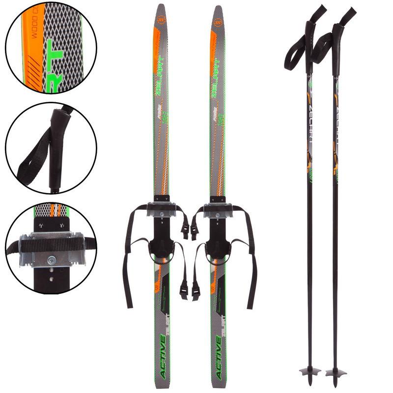 Лыжи беговые в комплекте с палками Zelart SK-0881-90B (l-лыж-90см,l-палки-70см,PVC чехол,крепление