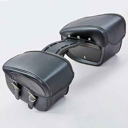 Мотосумка (2 кофра) H01-2 (PVC, р-р 49x31x15см, черный), фото 2