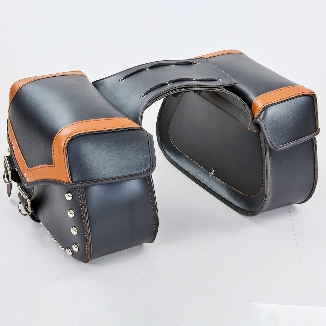 Мотосумка (2 кофра) H17 (PVC, р-р 49x31x15см, черный-оранжевый)