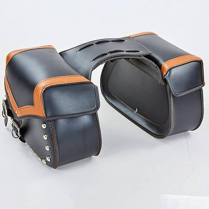Мотосумка (2 кофра) H17 (PVC, р-р 49x31x15см, черный-оранжевый), фото 2