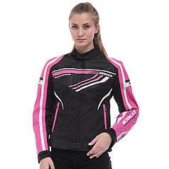 Мотокуртка текстильная с защитой женская SCOYCO JK37W (PL, PVC, M-XL-38-42, черный-розовый)