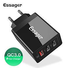 Універсальний зарядний пристрій Essager SCD-30 Black 30 вт на 3 USB порту Quick Charge 3.0 Швидка зарядка 3