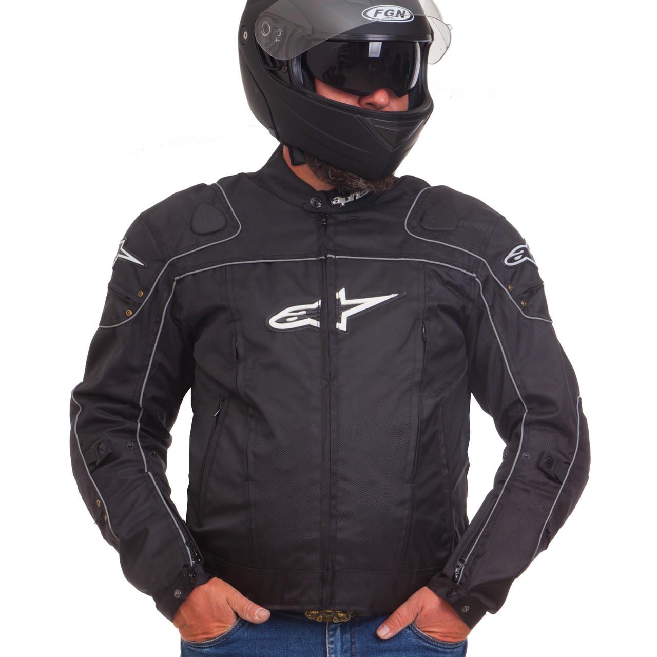 Мотокуртка текстильная с защитой Alpinestars A08 (PL, PVC, L-2XL, черный)