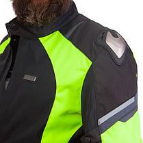 Мотокуртка текстильная с защитой NERVE 495-GN (PL, PVC, L-2XL-46-52, черный-салатовый), фото 2