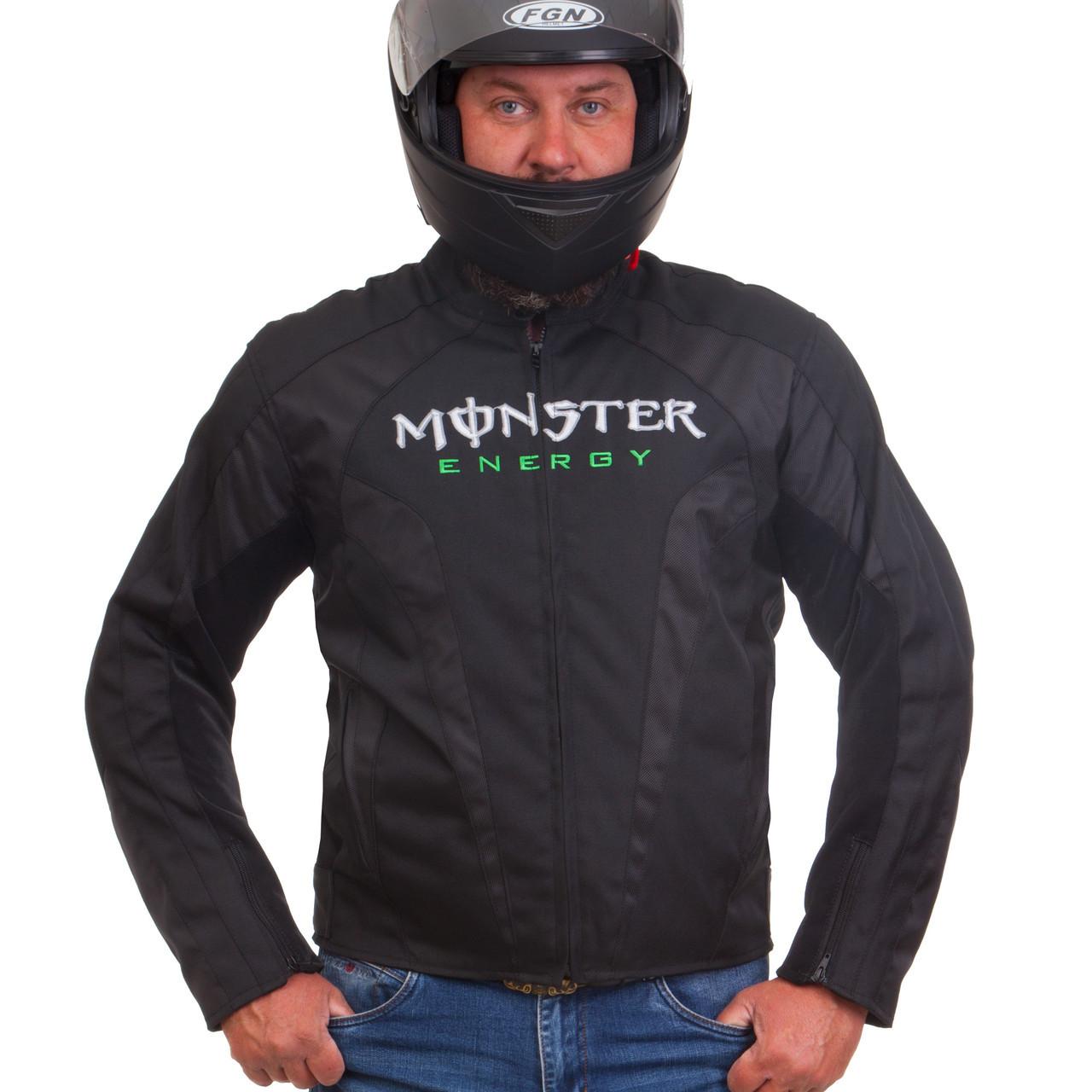Мотокуртка текстильная с защитой и аэродинамическим горбом Monster MS-5528-G (PL, PVC, M-2XL-44-52, черный)