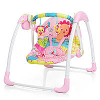 Колыбель-качель, Кресло-качалка для ребёнка , Электрокачель \ шезлонг Bambi 6519 розовый 11/47.9