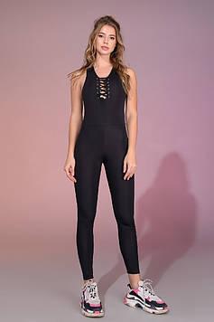 Стильный и удобный женский комбинезон,шнуровка на груди, черный, для йоги,фитнеса ,пилатеса.