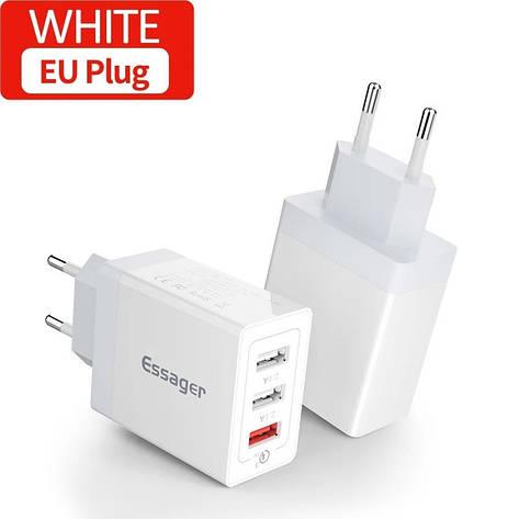 Універсальний зарядний пристрій Essager SCD-30 White 30 вт на 3 USB порту Quick Charge 3.0 Швидка зарядка 3, фото 2