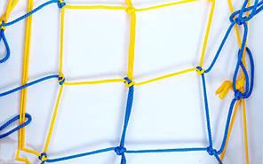 Сетка для мячей UR SO-5258 (полипропилен, d-4,5мм, 10 мячей, ячейка 12см, синий-белый, синий-желтый), фото 2