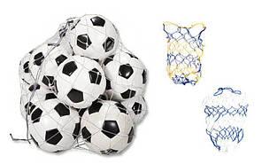 Сетка для мячей UR SO-5258 (полипропилен, d-4,5мм, 10 мячей, ячейка 12см, синий-белый, синий-желтый), фото 3