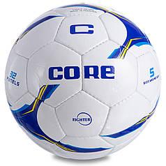 М'яч футбольний №5 PU SHINY CORE FIGHTER CR-026 (№5, 4 сл., зшитий вручну, білий-синій-блакитний)