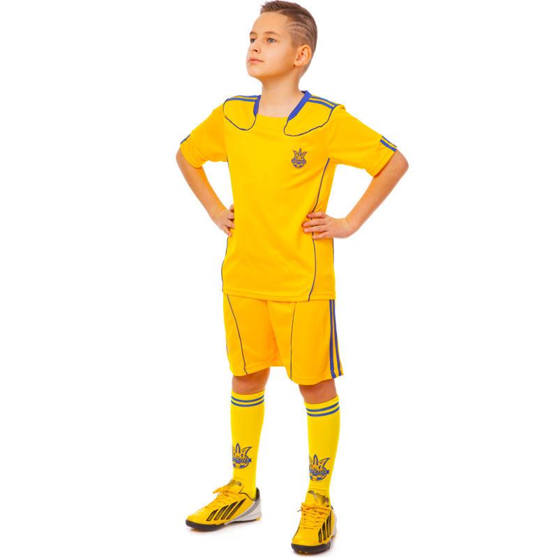 Комплект футбольной формы (футболка, шорты и гетры) Zelart УКРАИНА CO-1006-UKR-12Y-ETM1720 (форма р-р S,M рост