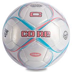М'яч футбольний №5 PU HIBRED Зшитий машинним способом CORE STRAP CR-015 (№5, 5сл., білий-рожевий-блакитний)
