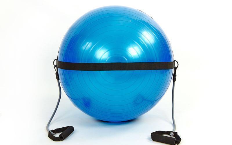 Мяч для фитнеса (фитбол) глянцевый с эспандерами и ремнем для крепл 65см PS FI-0702B-65 (1100г, ABS, синий)