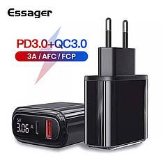 Універсальний зарядний пристрій Essager HKL-USB570G LED Black 18 вт USB + PD QC3.0 Швидка зарядка 3А