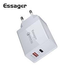 Універсальний зарядний пристрій Essager PD-01 White 36 вт USB + PD QC3.0 Quick Charge 3.0 Швидка зарядка 3А, фото 2
