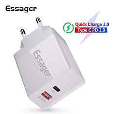 Універсальний зарядний пристрій Essager PD-01 White 36 вт USB + PD QC3.0 Quick Charge 3.0 Швидка зарядка 3А