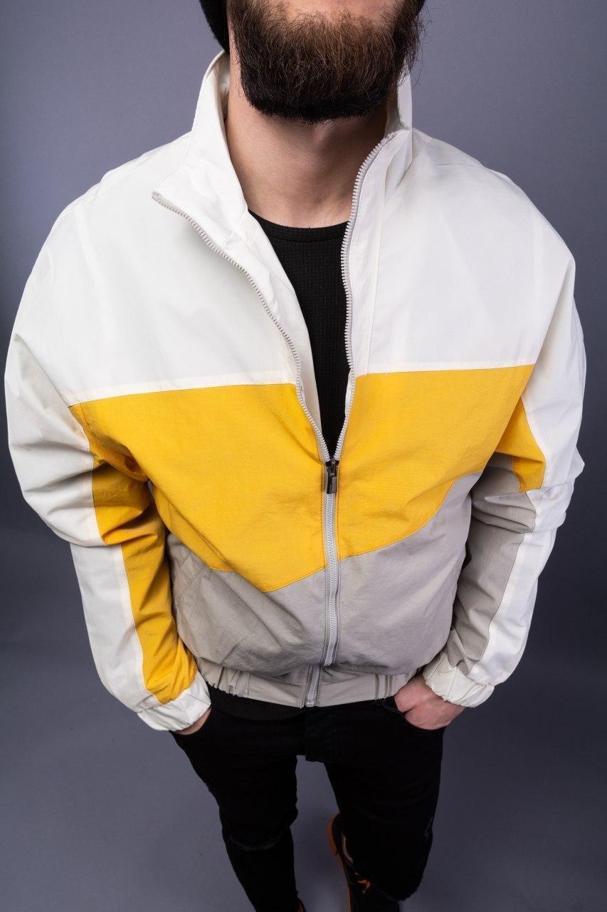 😜 Куртка - Мужская спортивная куртка-ветровка белого цвета