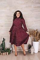 Женское красивое платье в мелкий горох с имитацией шарфика на груди миди длина батал