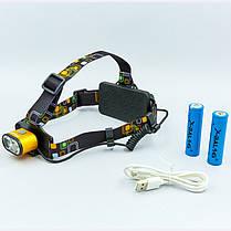 Фонарик налобный K28-T6 (пластик, 2 светодиода, линза, на аккумуляторе, черный), фото 3