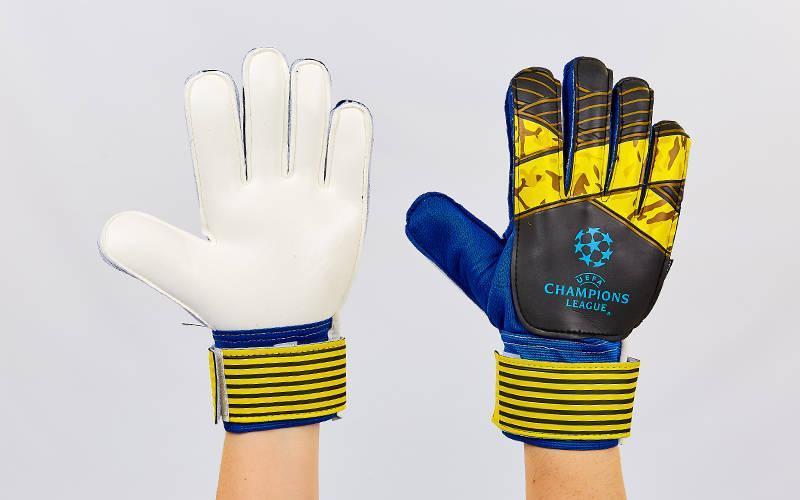 Перчатки вратарские с защитными вставками на пальцы FB-903 CHAMPIONS LEAGUE (PVC,р-р 7-10, цвета в