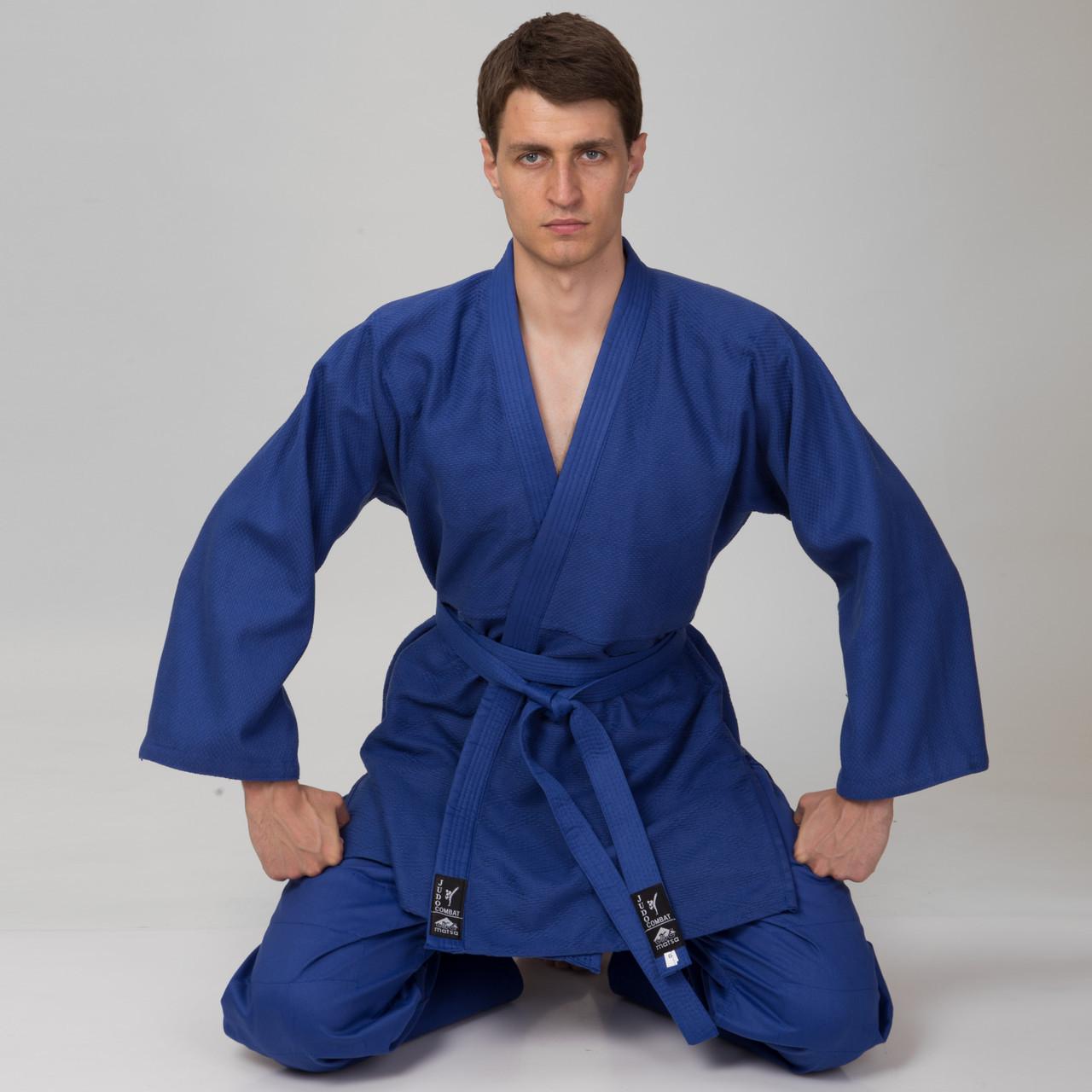 Кимоно для дзюдо MATSA MA-0015 (хлопок-плотность 450г на м2, размер 00-6, рост-120-190см, синий)