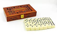 Доміно настільна гра в дерев'яній коробці IG-5010E (кістки-пласт, h-4,9 см,р-р кор. 20,5x12,5х4см)