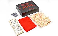 Лото настільна гра в кольоровій картонній коробці Супер лотто IG-8823 (90 дер.боч., 24карт, 40 пласт. фіш,
