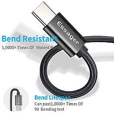 Оригинальный кабель Essager Type-C Quick Charge 3A быстрая зарядка 3A Black (EXCT-RX01), фото 2
