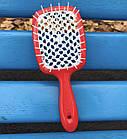 Расческа для волос Janeke 1830 Superbrush The Original Italian Red White Коралл, фото 4