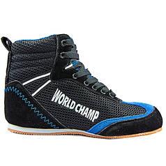 Борцовки замшевые World Champ WO-1524-1-BK (р-р 40-45) (верх-замша, низ-нескользящая резина, черный-синий)
