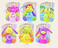 Погремушка мягкая C20560 Животные игрушечные, 6 видов,  тактильная, на планш.16,5*21см