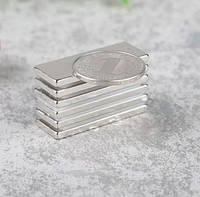 Прямоугольный магнит неодимовый 40х15х2 мм, сцепление 8 кг, N42