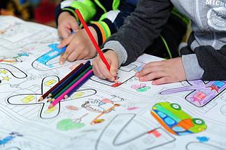 Шпалери-розмальовки Дитяча карта світу кольорова 60*130 см C-130002, фото 3