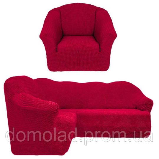 Чехлы на Угловой Диван и Кресло без Оборки Универсальный Размер Набор 221