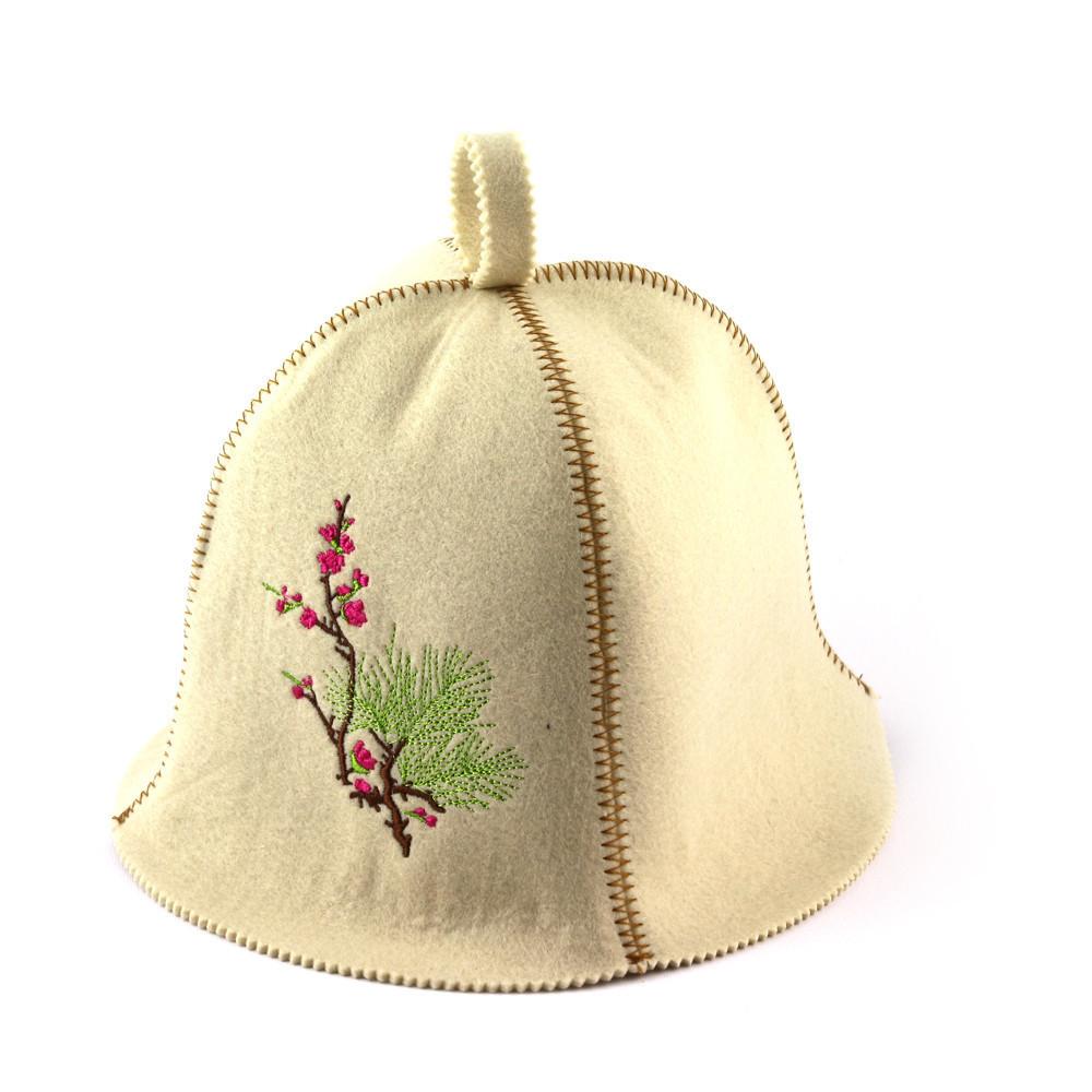 """Банная шапка Luxyart """"Цветущая сакура"""", искусственный фетр, белый (LA-384)"""