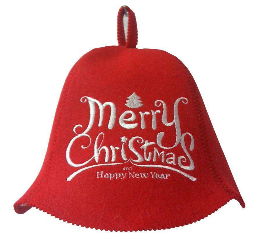 """Банная шапка Luxyart """"Merry Christmas"""", искусственный фетр, красный (LA-423)"""
