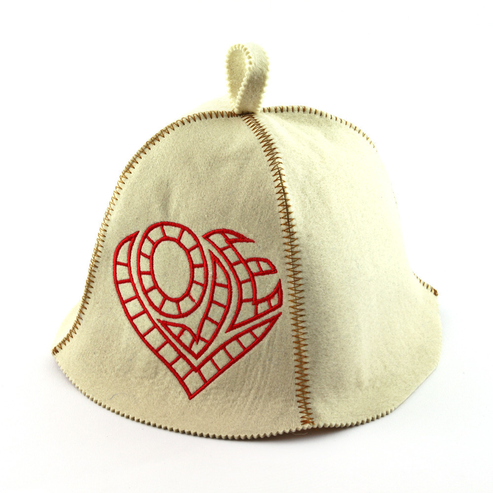 """Банная шапка Luxyart """"Love"""", искусственный фетр, белый (LA-478)"""