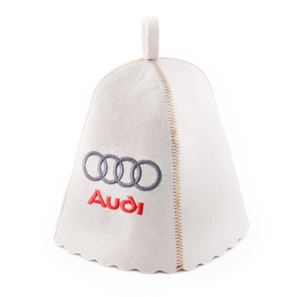 """Банная шапка Luxyart """"Audi"""", натуральный войлок, белый (LA-181)"""