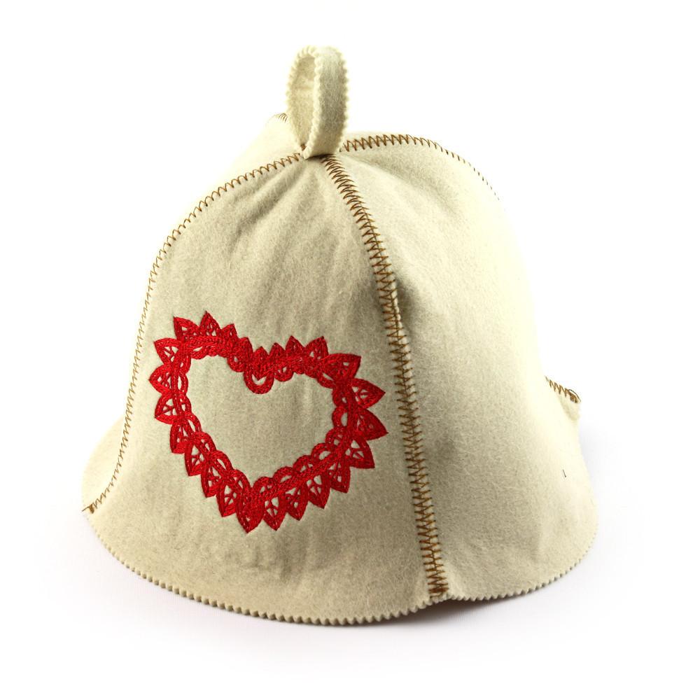 """Банная шапка Luxyart """"Сердце ажур"""", искусственный фетр, белый (LA-474)"""