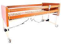 Комплект OSD-91: Кровать деревянная с электромотором на колесах, с перилами и гусем, регулируемая высота 30-70см, металлический каркас (4секции) и, фото 1