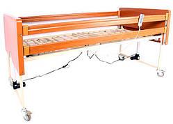 Комплект OSD-91: Ліжко дерев'яне з електромотором на колесах, з перилами і гускою, регульована висота 30-70см,
