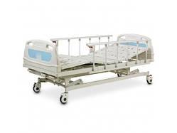Ліжко лікарняне механічна на колесах, з поручнями і регулюванням висоти, металевий каркас(4 секції) -